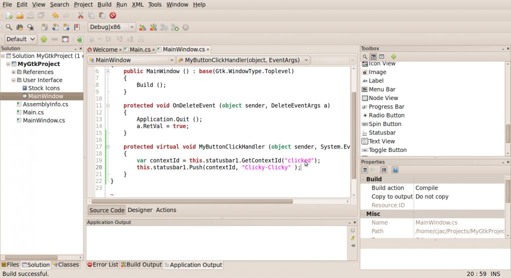 Click handler code